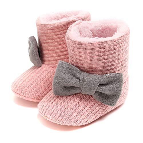 Jinxuny baby bowknot winter warme sneeuwschoenen zachte zool antislip sneeuwschoenen fleece gevoerd sneeuwschoenen kribbe schoenen kleine kinderen laarzen geschenk 13 roze 13