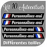 CrisPhy Autocollants x10 en Vinyle avec Drapeau France + Votre nom - Vélo, Casque, Pelle à Roue, Planches à roulettes, Voiture, Moto, etc. Kit de 10 Vinyle (Font Pack 2)