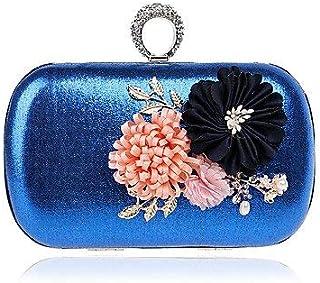Shoulder Bag Women;S Polyester Evening Bag Flower for Event/Party Formal All Seasons Blue Gold Black Silver Red Handbag Clutch (Color : Blue)