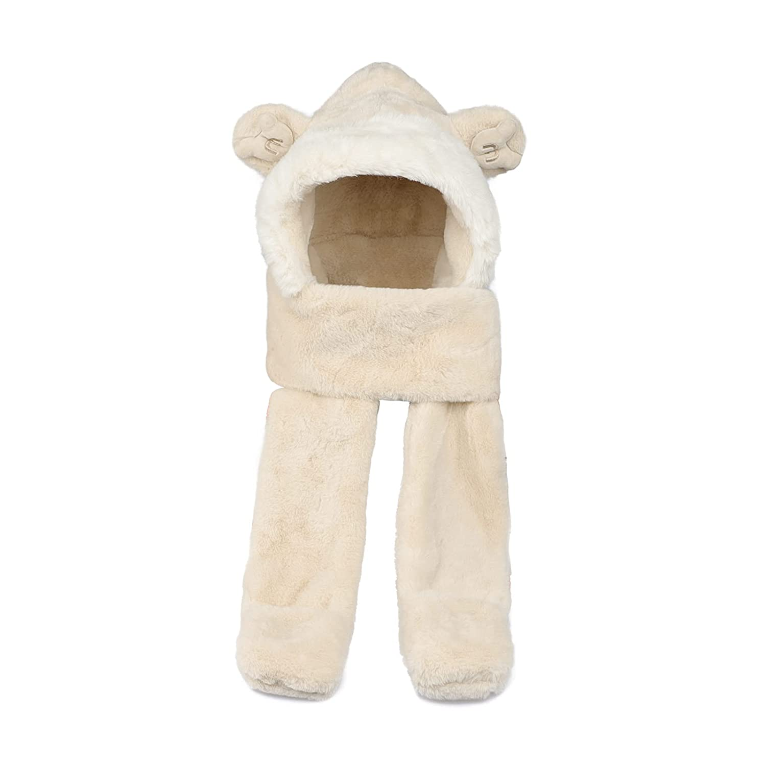 Kids Hat Scarf Gloves 3 in 1 Furry Thick Hooded Scarf with Mittens Cute Ski Cap Teens Plush Fluffy Winter Earflap Cap for Boys Girls Neck Warmer Gaiter Windproof Balaclavas Hat