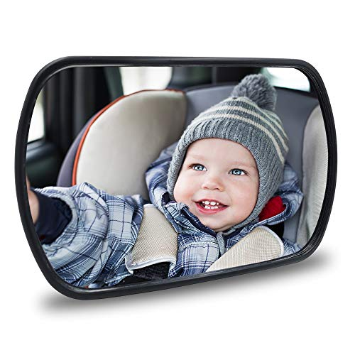 QIXI Baby Car Mirror - Rear View Baby Car Back Seat Mirror - Child Observation Mirror Wide Convex and Shatterproof - 2 Way of Connection Suitable for Both Rear-Facing and Forward-Facing