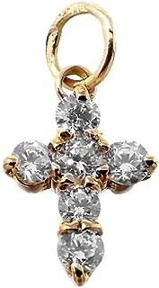 18K Gold Cross Pendant 11mm. Zircons Woman Claws