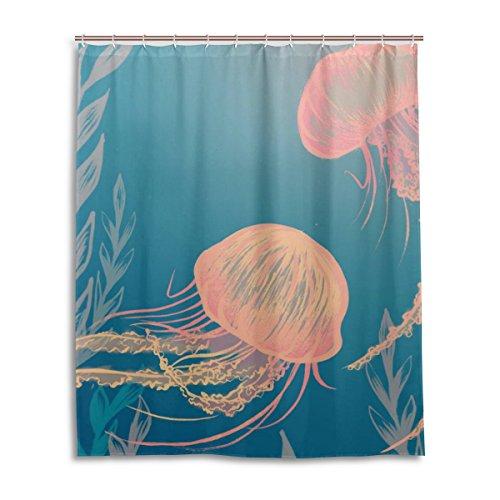 Badezimmer Duschvorhang mit 12Haken Schimmelfest Polyester Stoff 152,4x 182,9cm Qualle Muster