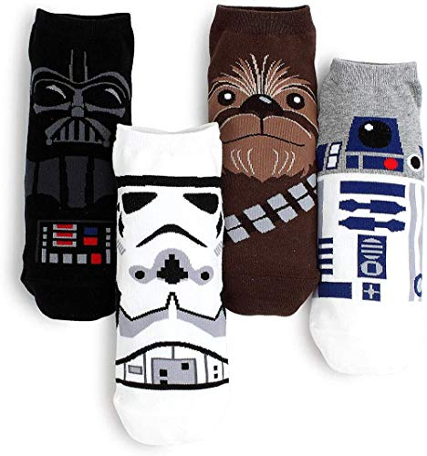 Low-cut Socks Collection, 4 Pairs of Star Wars Characters, One Size Fits All.