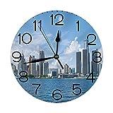 Butty Reloj de Pared silencioso, sin tictac, 10 Pulgadas, Redondo de Cuarzo, Decorativo, Centro de Detroit GM Renaissance Center Frod Auditorium Shoreline