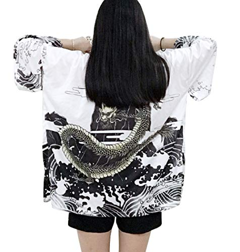 LAI MENG - Kimono holgado para mujer con estampado japonés, manga 3/4, chaqueta ligera, UE 34-48