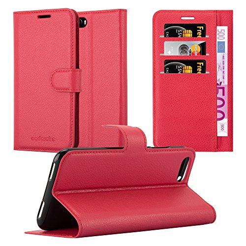 Cadorabo Hülle für Cubot Magic in Karmin ROT - Handyhülle mit Magnetverschluss, Standfunktion & Kartenfach - Hülle Cover Schutzhülle Etui Tasche Book Klapp Style