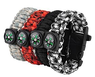 TECH-P® Survival Gear Paracord Bracelet Compass Fire Starter Scraper Whistle Gear Kits- 2 Pack