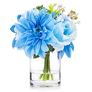 Enova Home Artificial Mixed Silk Rose and Dahlia Flower Arrangement in Clear Glass Vase with Faux Water for Home Wedding Decoration
