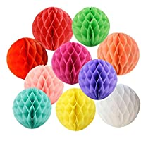 """1. This pack contains 6pcs pom poms honeycomb balls. Size: 10"""" each 3. The flower ball is easy to assemble since each fan with one yard thin white ribbon for hanging. 5. Different color set stans for different style and mood, choosing the best one fo..."""
