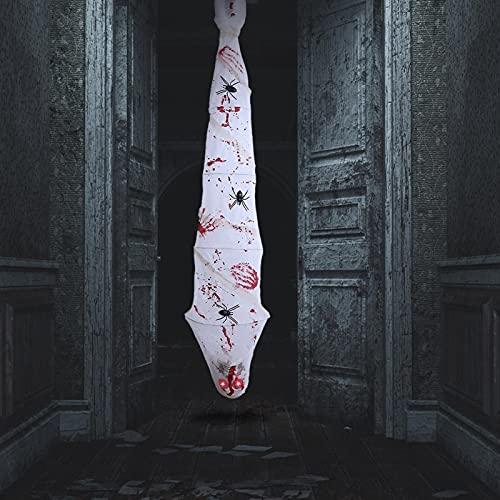 """70 """"Decoração de Halloween Co-coon Corpse, Scary Hanging Silk Ghost Corpse Decoração de adereços de Halloween com LED Skull Eyes Spider Cover e Sound Induction, para Halloween Party Decor"""