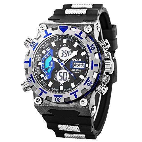 Reloj Deportivo Muñeca Digital Cara Grande Impermeable Militar Led Cronómetro SIBOSUN Hombres Japonés Cuarzo Fecha De Alarma