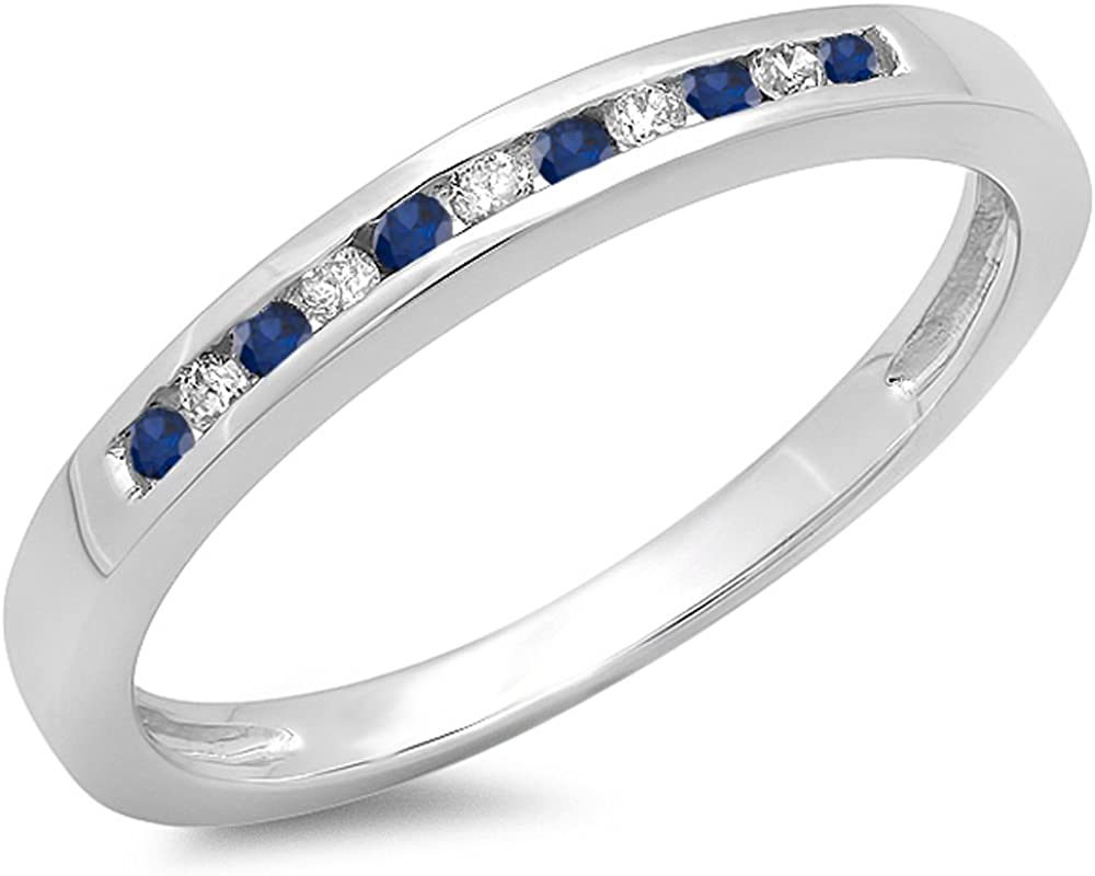 10K Gold Round Blue Sapphire & White Diamond Ladies Anniversary Wedding Band Stackable Ring