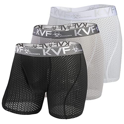ボクサーパンツ ボクサーブリーフ メンズ メッシュ ロングボクサー 蒸れない パンツ 男性 下着 ローライズ 前開き 通気 ストレッチ 立体 セット 3枚組