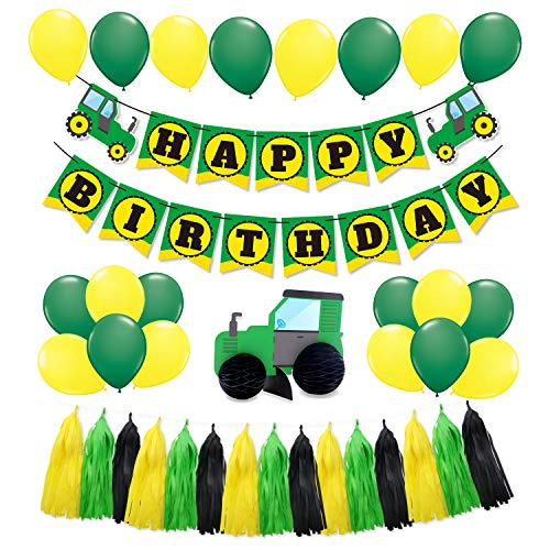 SIFAN 44 PCS Green Tractor Party Supplies Tractor Happy Birthday Baby Shower Decorations Banner Garland Banner for Boys Farm Tractor John Deere Party Celebrations