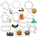 Sanfiyya Cortador de Galletas de Halloween, Acero Inoxidable DIY Craft Fondant de la Galleta Kit de Molde-Pumpkin Bats Búhos Cat Ghost Brujas para Halloween Navidad Decoración de Galletas 10pcs