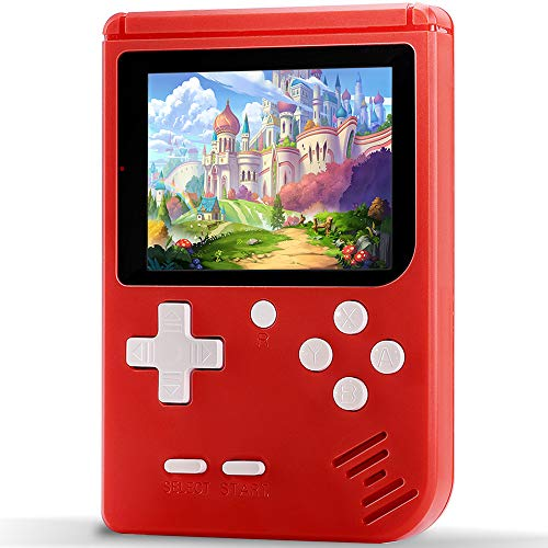 """Haopapa Handheld Games Console for Kids, Retro FC Arcade Video Gaming System Built-in 400 Classic Old School Games 3.0"""" LCD USB Charge and TV-Output, Birthday Gifts for Boys Girls Adults-RED"""