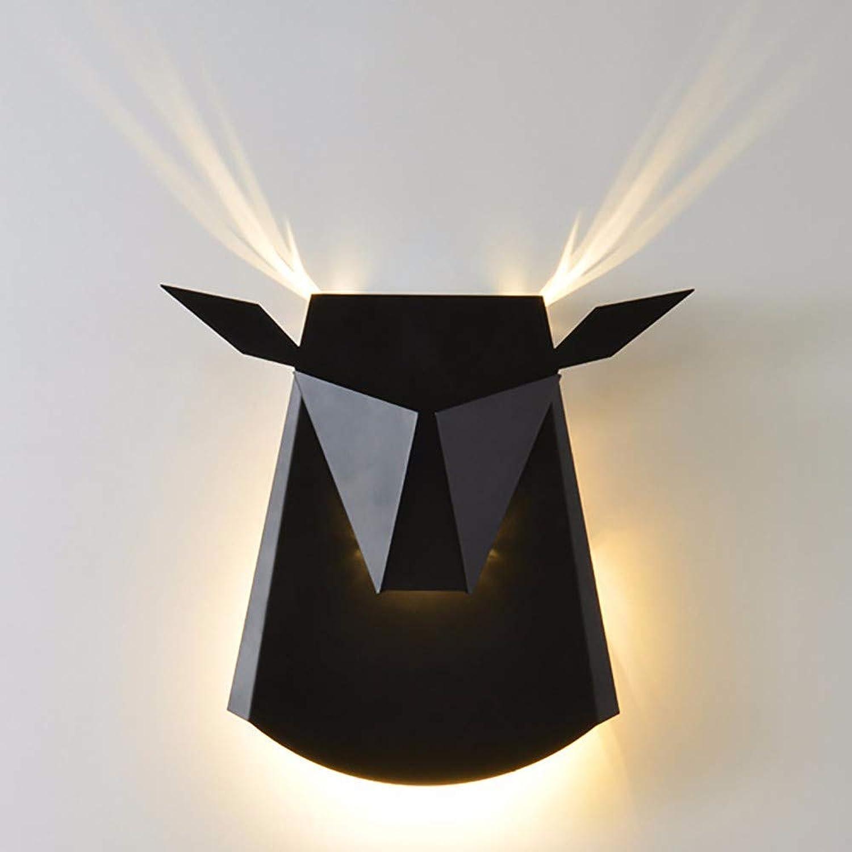 servicio considerado YLCJ Luz de parojo europea personalidad creativo arte cabeza cabeza cabeza vaca corrojoor lámpara de parojo pasillo, negro  al precio mas bajo