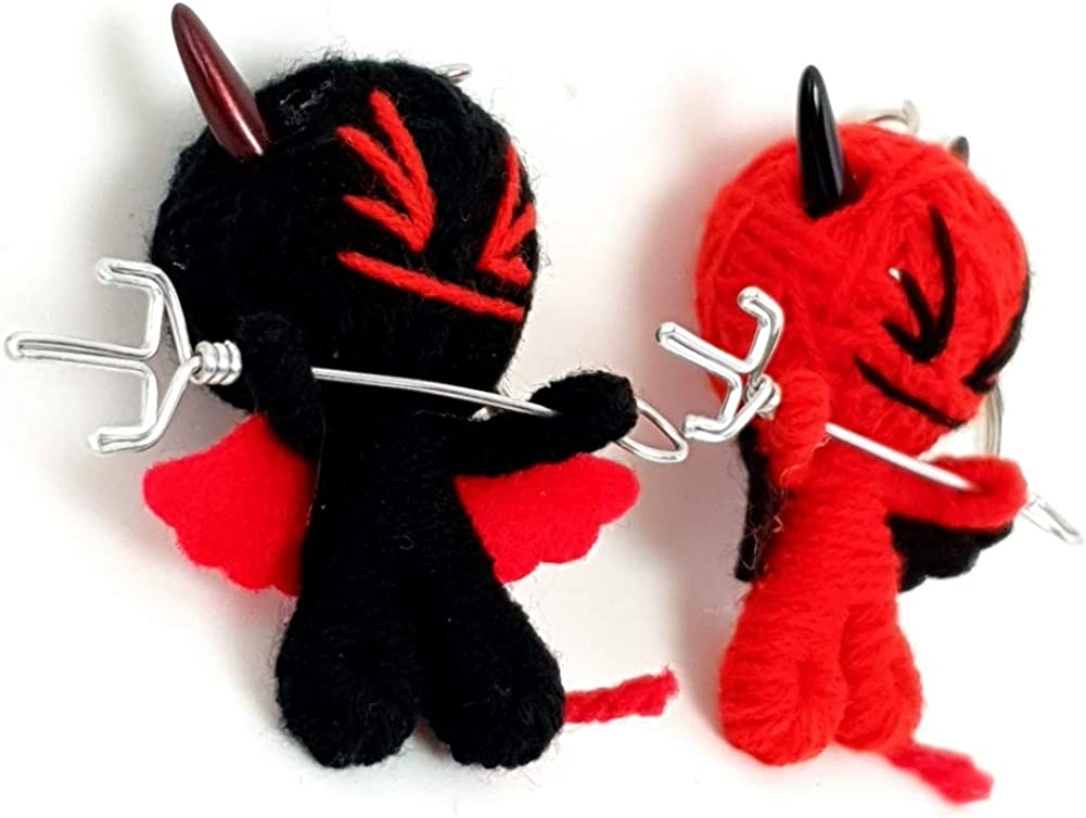 Littledream 2x New Voodoo Doll String Keychain Keyring Devil Demon Ornament Toy Bag Collectible Home Office Gift Souvenir