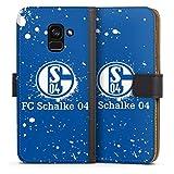 DeinDesign Klapphülle kompatibel mit Samsung Galaxy A8 Duos 2018 Handyhülle aus Leder schwarz Flip Hülle FC Schalke 04 S04 Offizielles Lizenzprodukt