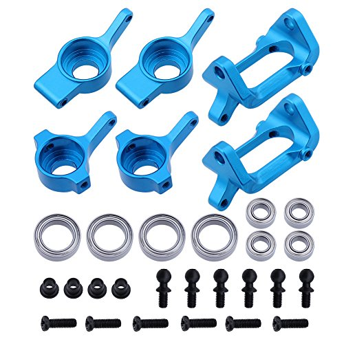 Hobbypark Front & Rear Aluminum Steering Hub Base C Carrier Knuckle Upgrade Kit for 1/18 Wltoys A959 A949 A969 A979 K929 A959-B A969-B A979-B RC Car