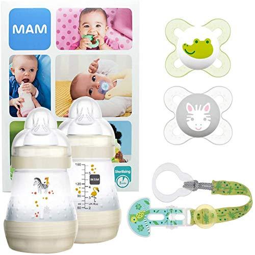 MAM Welcome Baby Starter Set, kit nouveau né, cadeau de naissance 2 biberons Easy Start anti-colique (160mL), 2 tétines Start silicone 0-2 mois & leur attache, unisexe
