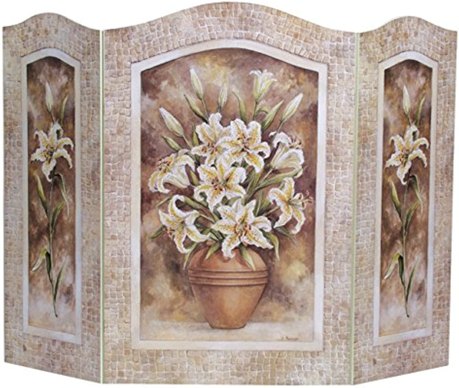The Stupell Home Decor Collection 3 Panel Decorative Fireplace Screen, Lily Flower, 43 by 31 by 0.5-Inch