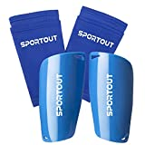 Sportout - Espinilleras para niños, jóvenes, adultos, con fundas elásticas altas, ofrece una protección integral para las piernas., color Azul 2,...