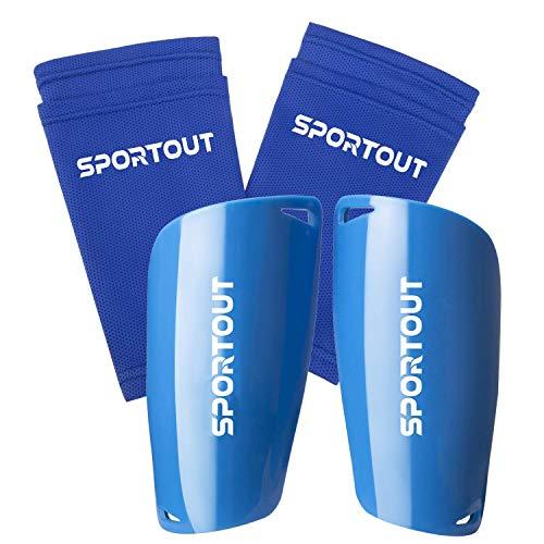 Sportout - Espinilleras para niños, jóvenes, adultos, con fundas elásticas altas, ofrece una protección integral para las piernas., color Azul 2, tamaño small