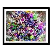 ダイヤモンド絵画キット 大人 子供用 色とりどりの蝶と蘭 ラインストーンクリスタルの刺繍キットアート工芸品&ソーイングクロスステッチ 30x40cm