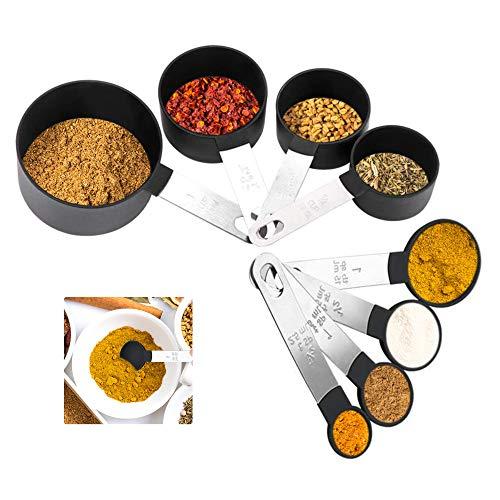 8 Piezas Cucharas Medidoras, Tazas y Tazas Medidoras Accesorios de Cocina para Medir Ingredientes Secos y Líquidos (Negro)