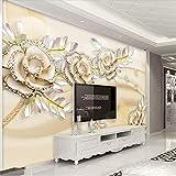 Individuelle Tapeten 3d Fototapeten Mode gehobenen europäischen Golden Rose Leaf Stereoscopic Wallpaper Schlafzimmer 5d Wandbild 25/㎡