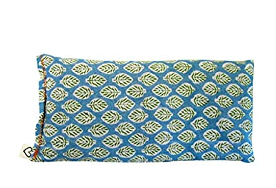 Hunki Dori Scented Yoga Eye Pillow - Lavender Flax Seed - 4 x 8.5 - Block Printed - Soft Cotton - Organic Naturally Soothing - herb aqua blue green