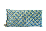 Scented Yoga Eye Pillow - Lavender Flax Seed - 4 x 8.5 - Block Printed - Soft Cotton - Organic Naturally Soothing - leaf aqua blue green