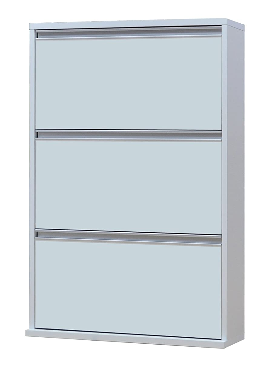 バケツ定義するペンフレンド協栄産業 薄型木製シューズボックス 3段 幅70cm MK703 ホワイト