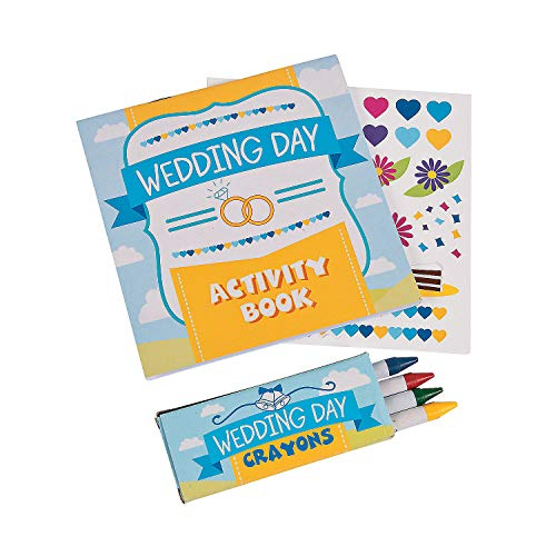 Wedding Day Kids Activity Books with Stickers and Crayons (1 Dozen) Kids' Table Activities, Wedding Favors