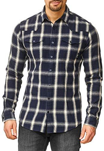 Indicode Herren Altin Flanellhemd kariert mit 2 Brust-Taschen aus 100% Baumwolle | Regular Fit Langarm Herrenhemd Ton-in-Ton Karo-Muster LS Shirt langärmlig Freizeithemd für Männer Navy XL
