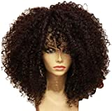 Pelucas Afro rizado para mujeres Medinum longitud natural sintético afro rizado peluca completa con flequillo para disfraz peluca o uso diario (marrón)