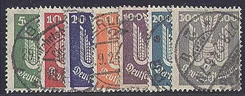 Goldhahn Deutsches Reich Nr. 344-350 gestempelt Flugpost 1924 Briefmarken für Sammler