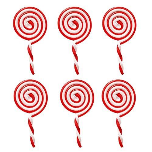 6 Piezas Bastones de Caramelo de Plástico de Navidad Bastón de Caramelo de Navidad Accesorios de Decoración de Bastones de Caramelo Adorno Piruleta Navidad para Fiesta Navidad ⭐