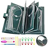 Aweisile 11 piezas agujas de tejer circulares 80 cm Agujas circulares de acero inoxidable herramientas de tejer de ganchillo agujas de ganchillo ganchos de ganchillo con juego de herramientas, 1.5-5mm