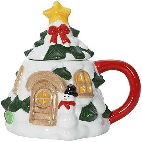 Tree With Star Lid - Christmas Themed Ceramic Glossy 12 oz Mug With Handle (Microwave and Dishwasher Safe)