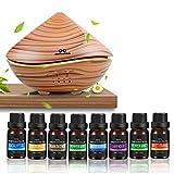 Diffusore di aromi ad Ultrasuoni 500ml con inclusi Top 8 oli essenziali biologici 100%, 7 Colori LED,Timer, Auto Spegnimento,Spa,Ufficio,Camera,Yoga,idea regalo,set
