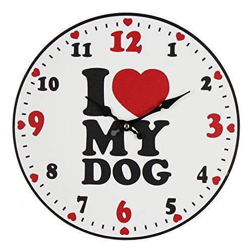 Best of Breed 30cm orologio da parete in legno–'I Love My Dog'