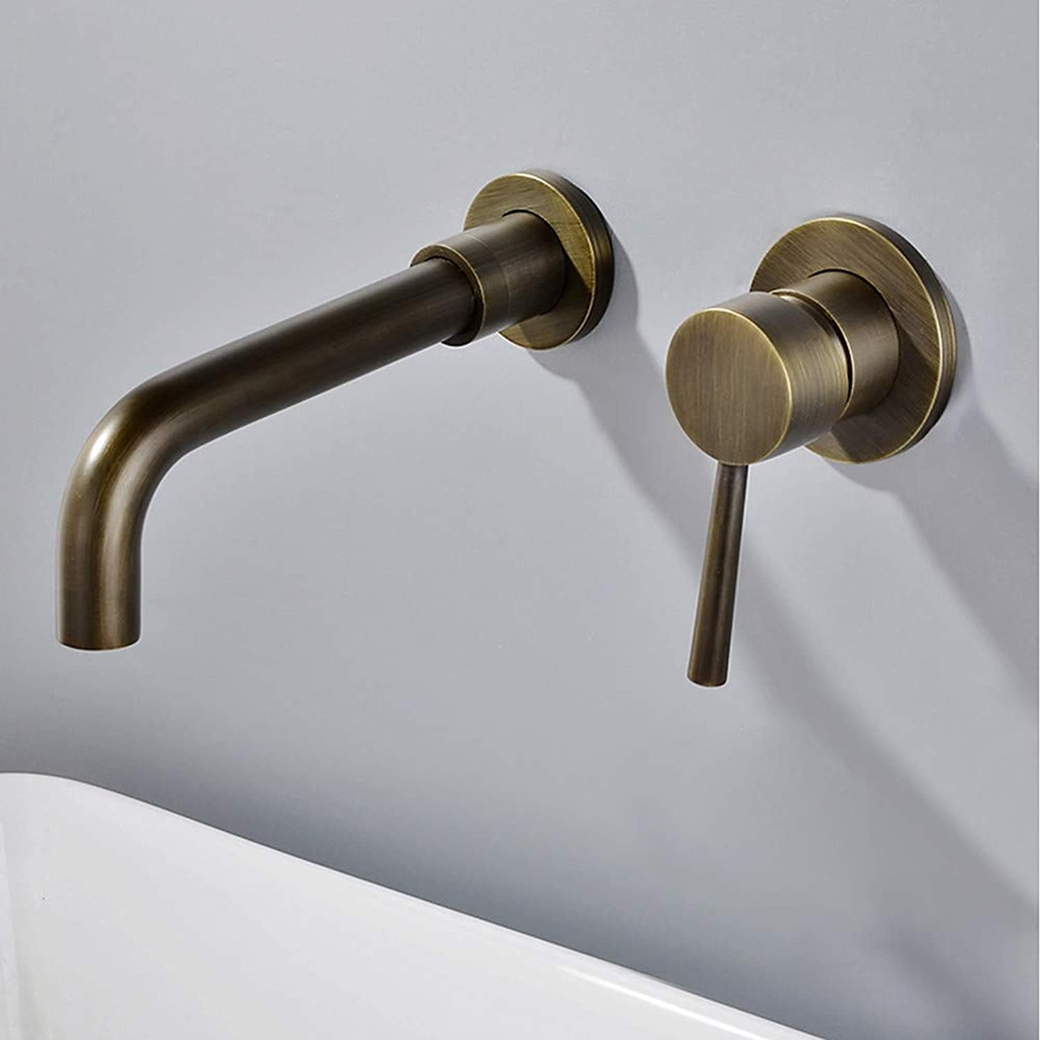 Tintin Bathroom Sink Faucet - Widespread Antique Wall Mounted Single Handle Two Holes,1