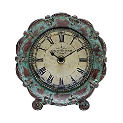 NIKKY HOME Table Top Clock, Vintage French Decorative Pewter Analog Desk Clock Battery Operated for Living Room Decor Shelf , Green