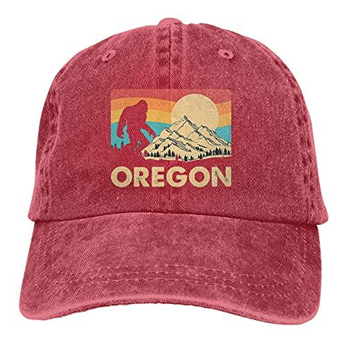 Vintage Retro Oregon Bigfoot Wandern Camping Unisex Sport Cap Waschbar Mode Baseball Hut für Mann Frau Gr. Einheitsgröße, rot