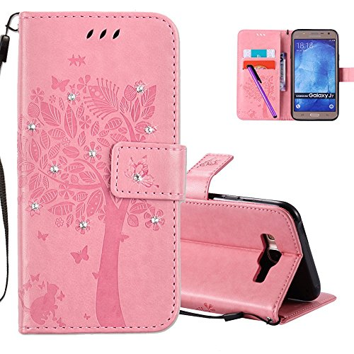 HMTECHUS Galaxy J7 2015 case J7 case 3D Crystal Embossed Love Tree Cat Butterfly PU Flip Stand Card Holders Wallet Handmade Bling Cover for Samsung Galaxy J7 2015 Wishing Tree Diamonds Pink KT