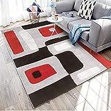 WQ-BBB Moderno Geometría Negra alfombras Salon Grandes sin Pelo Gris Blanco Rojo alfombraspara Mesa Salon Pasillo alfonbras 160X230cm