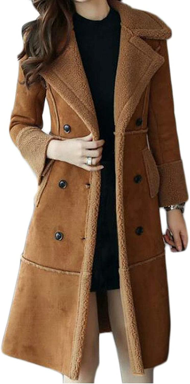 BYWX Women DoubleBreasted Patch Pocket Mid Length Trench Coat Overcoat